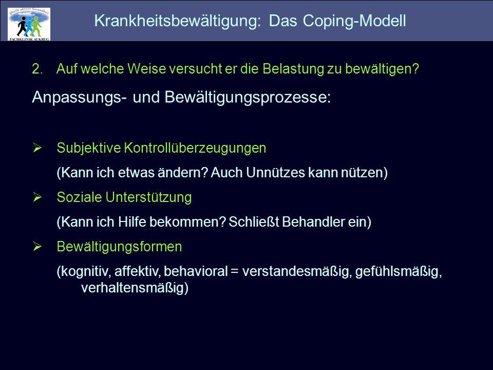 Krankheitsbewältigung: Das Coping-Modell