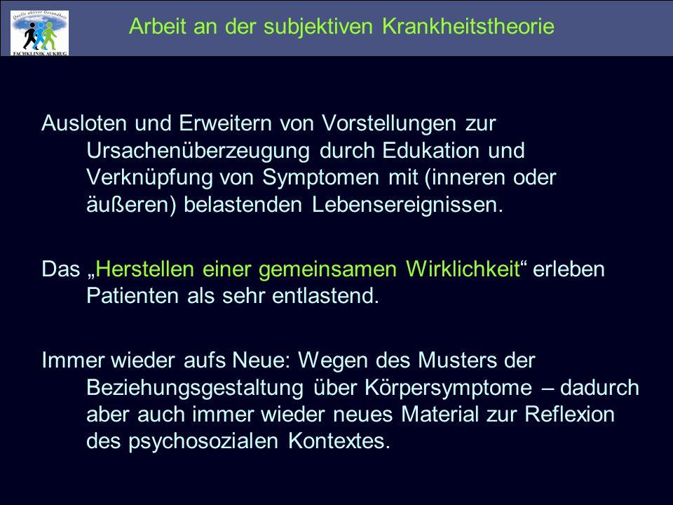 Arbeit an der subjektiven Krankheitstheorie