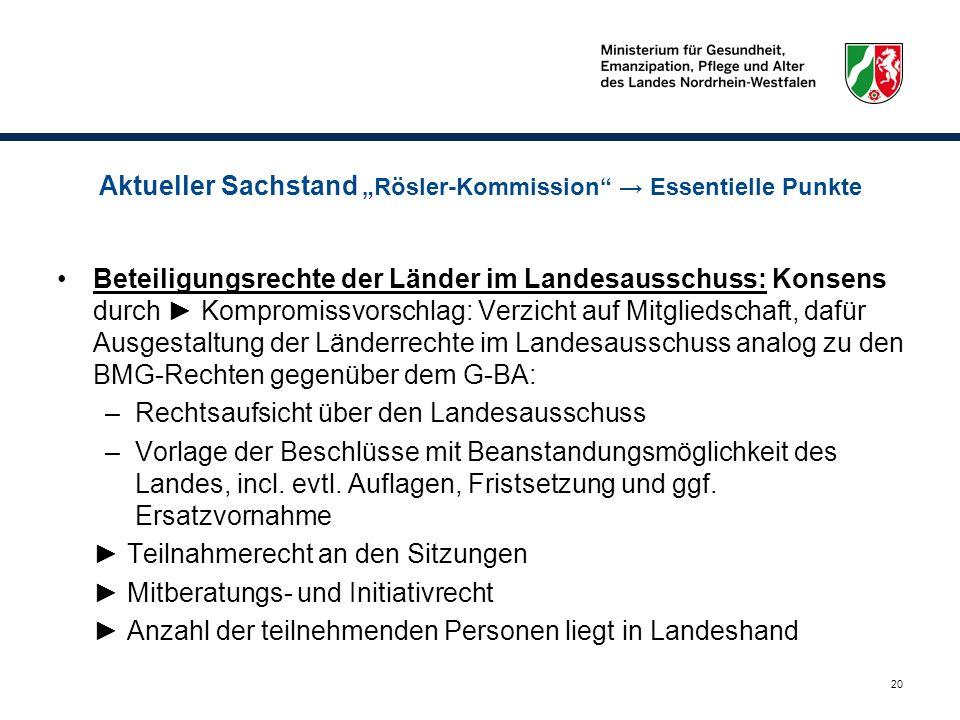 """Aktueller Sachstand """"Rösler-Kommission → Essentielle Punkte"""