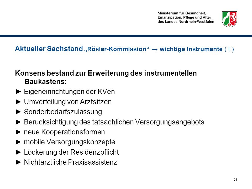 "Aktueller Sachstand ""Rösler-Kommission → wichtige Instrumente ( I )"