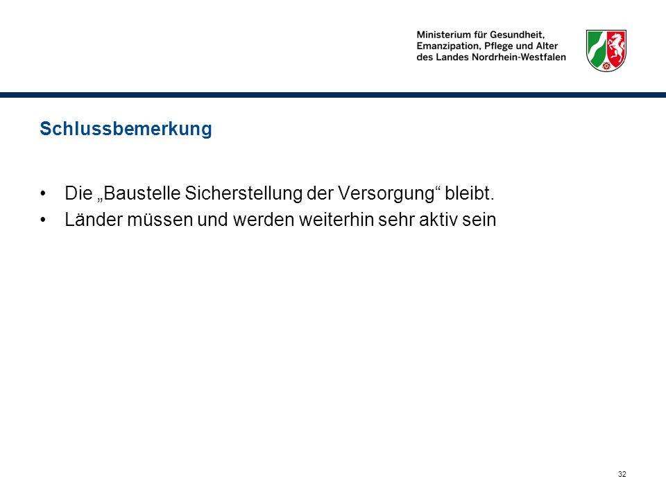 """Schlussbemerkung Die """"Baustelle Sicherstellung der Versorgung bleibt."""