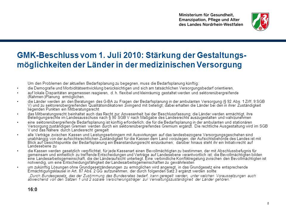 GMK-Beschluss vom 1. Juli 2010: Stärkung der Gestaltungs-möglichkeiten der Länder in der medizinischen Versorgung