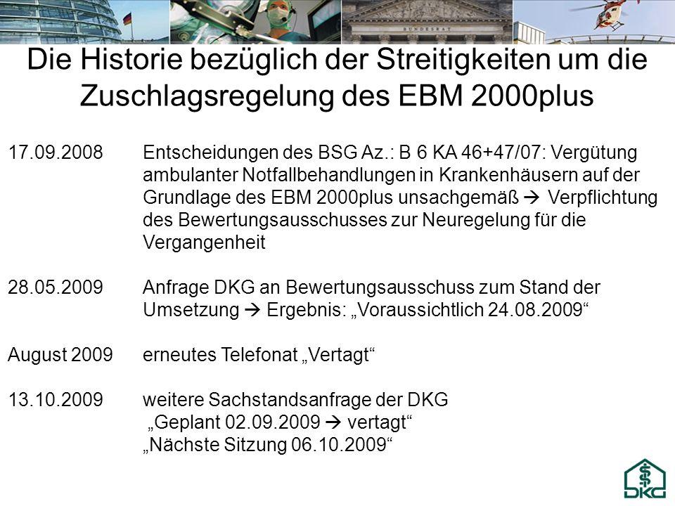 Die Historie bezüglich der Streitigkeiten um die Zuschlagsregelung des EBM 2000plus