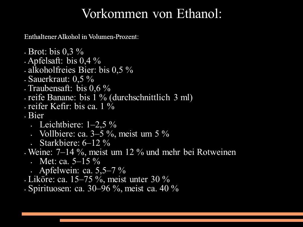 Vorkommen von Ethanol: