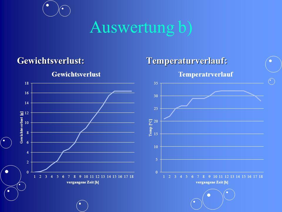 Auswertung b) Gewichtsverlust: Temperaturverlauf: