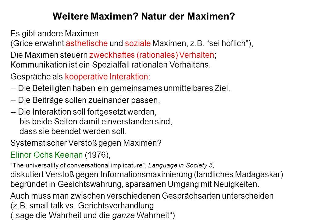 Weitere Maximen Natur der Maximen