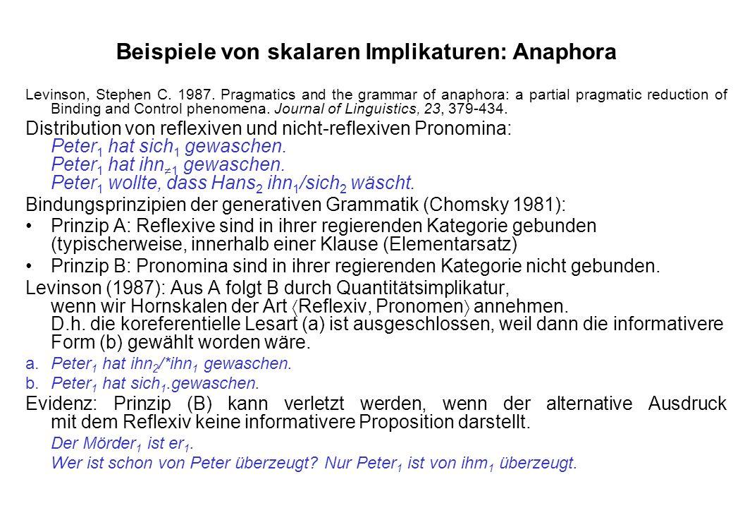 Beispiele von skalaren Implikaturen: Anaphora