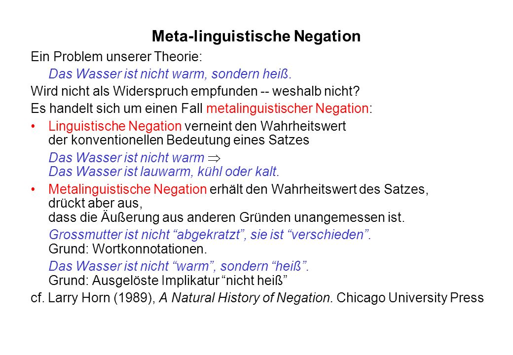 Meta-linguistische Negation