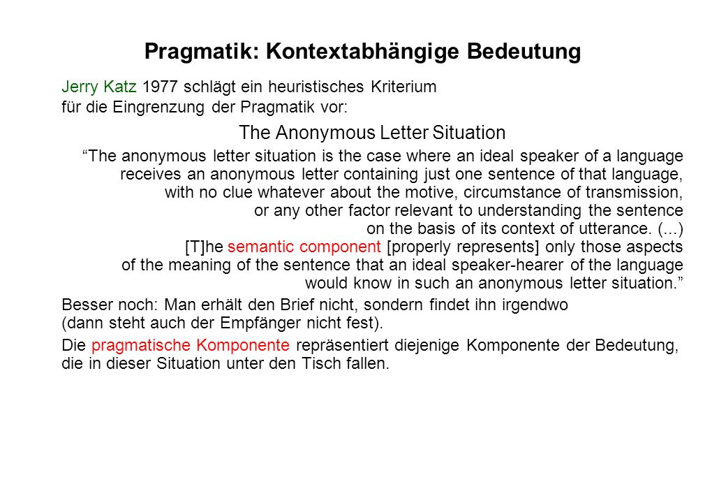 Pragmatik: Kontextabhängige Bedeutung