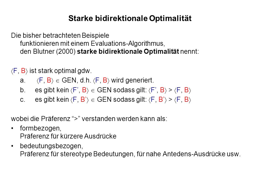 Starke bidirektionale Optimalität