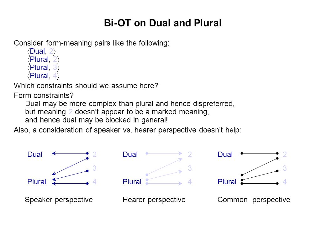 Bi-OT on Dual and Plural