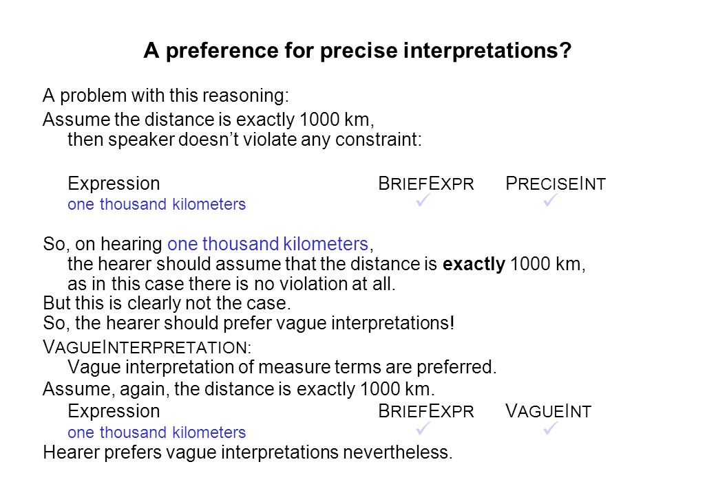 A preference for precise interpretations