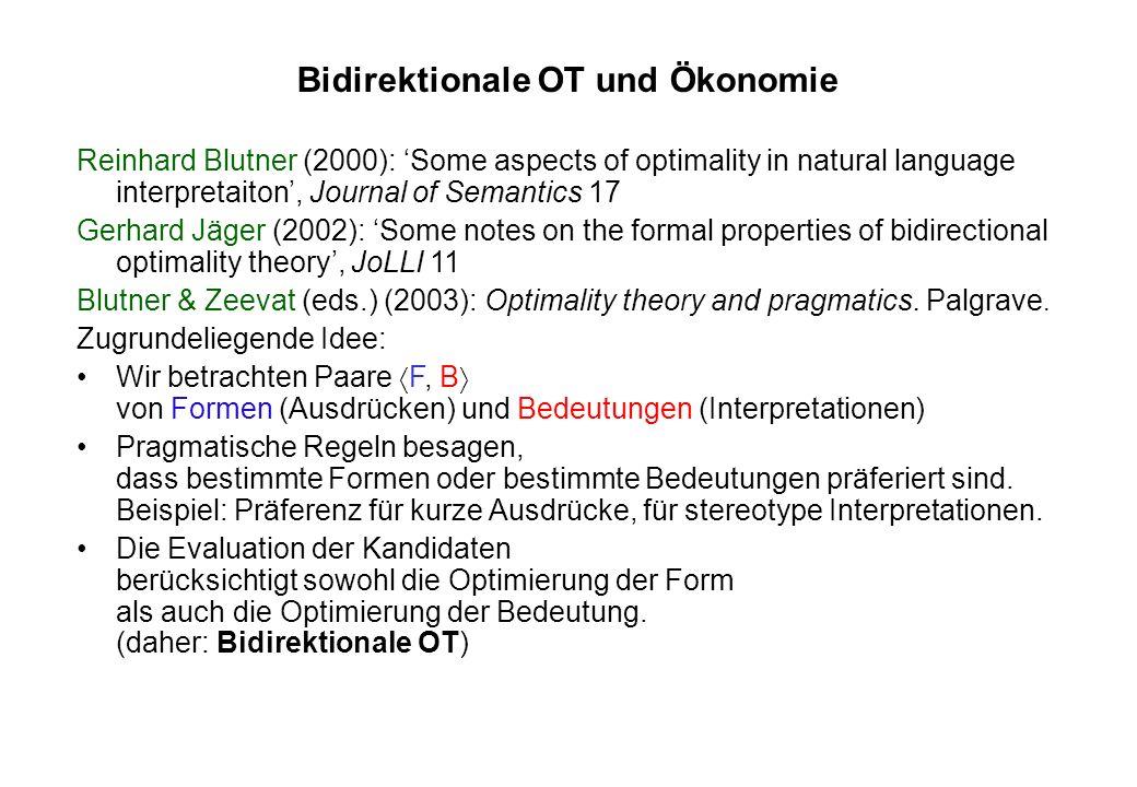 Bidirektionale OT und Ökonomie