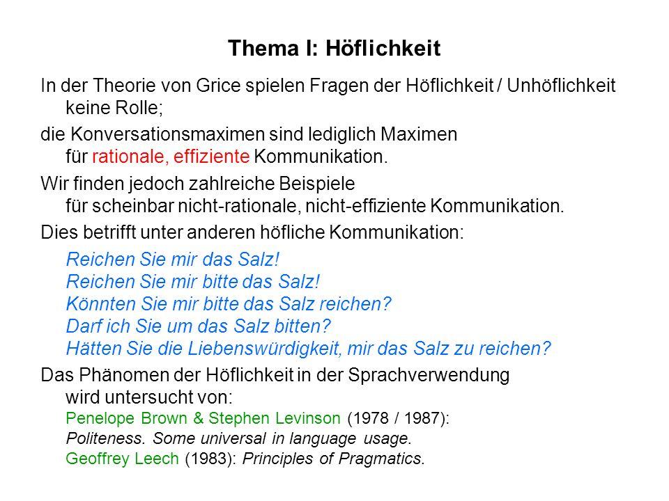 Thema I: HöflichkeitIn der Theorie von Grice spielen Fragen der Höflichkeit / Unhöflichkeit keine Rolle;