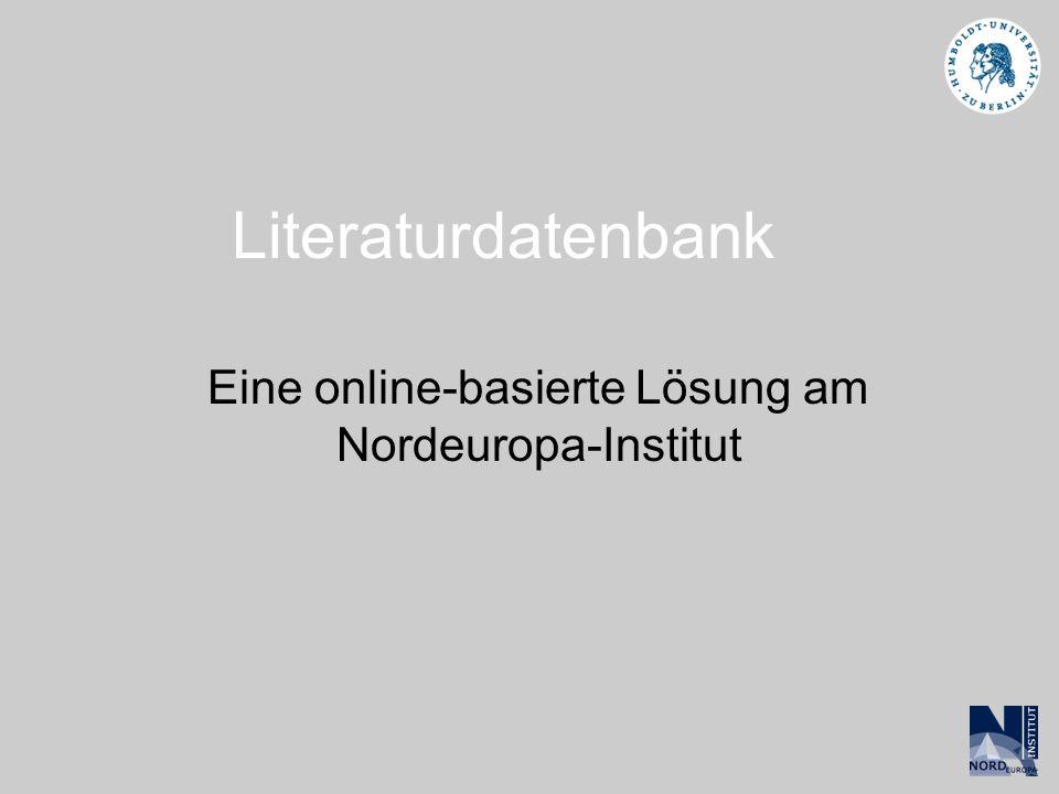 Eine online-basierte Lösung am Nordeuropa-Institut