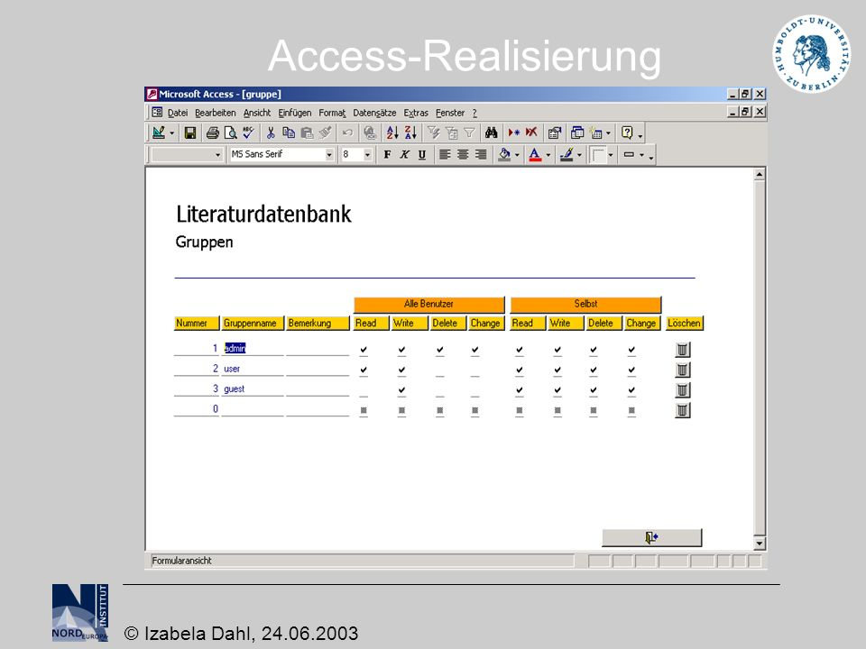 Access-Realisierung © Izabela Dahl, 24.06.2003