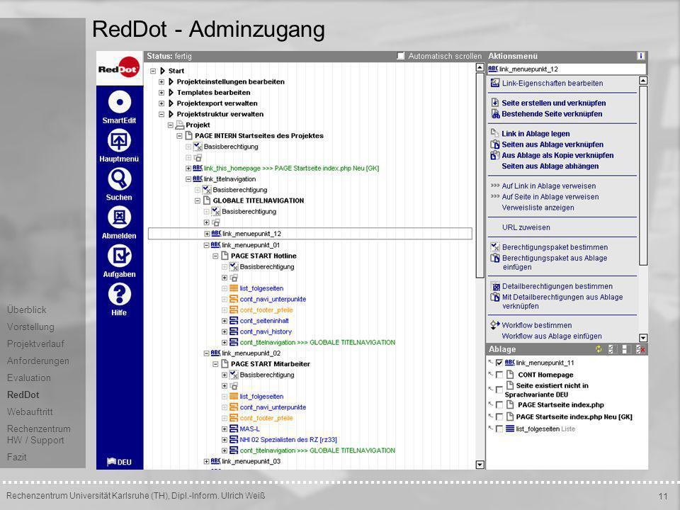 RedDot - Adminzugang Überblick Vorstellung Projektverlauf