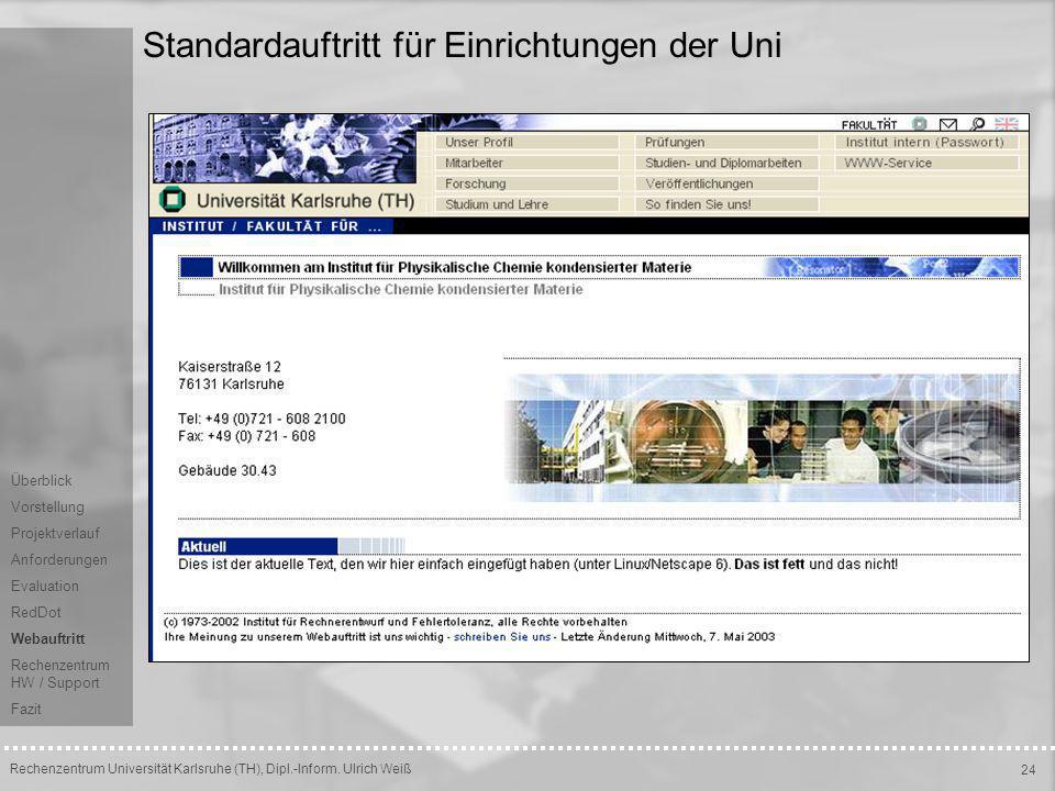 Standardauftritt für Einrichtungen der Uni