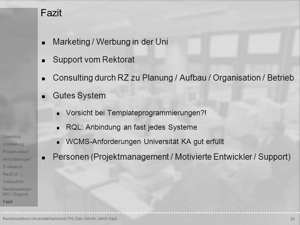 Fazit Marketing / Werbung in der Uni Support vom Rektorat