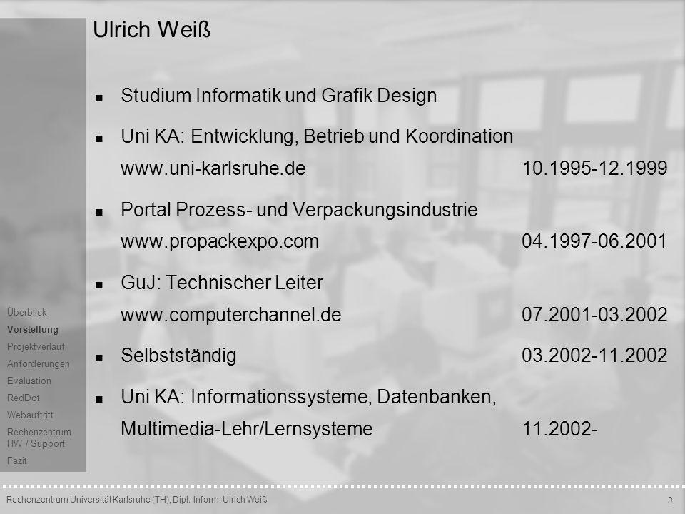 Ulrich Weiß Studium Informatik und Grafik Design