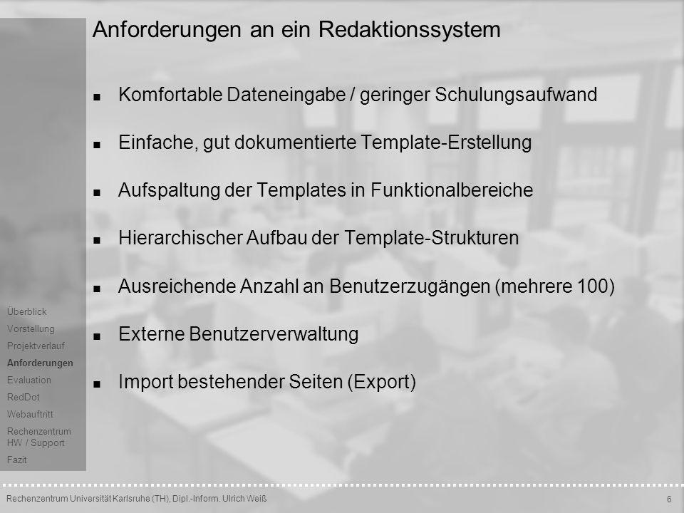 Anforderungen an ein Redaktionssystem