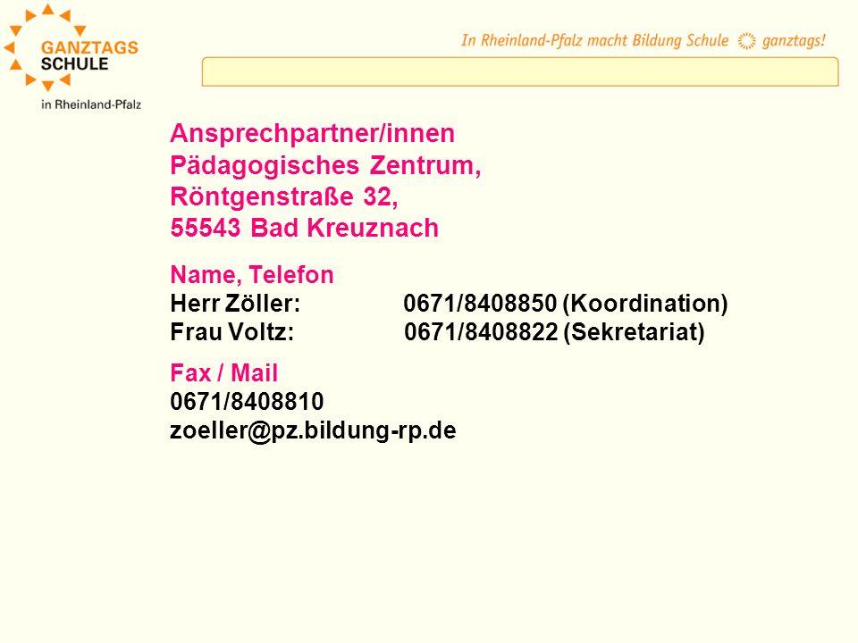 Ansprechpartner/innen Pädagogisches Zentrum, Röntgenstraße 32,