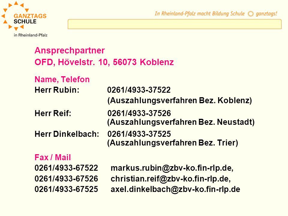 Ansprechpartner OFD, Hövelstr. 10, 56073 Koblenz Name, Telefon