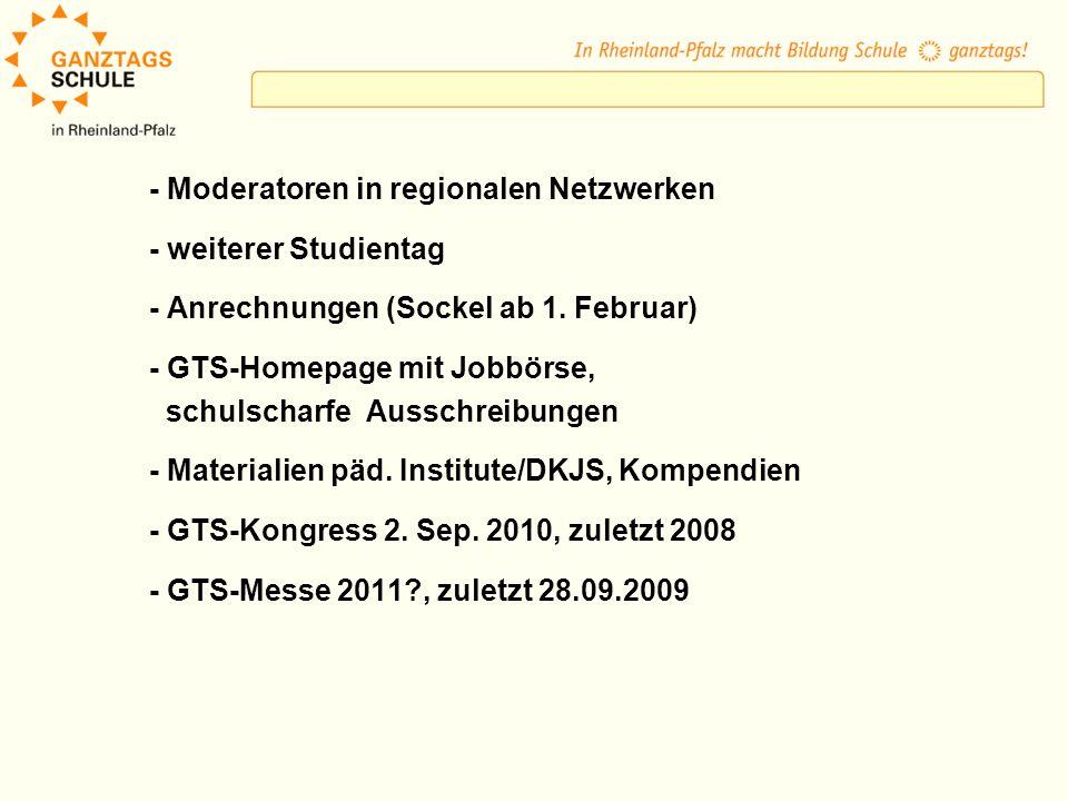 - Moderatoren in regionalen Netzwerken