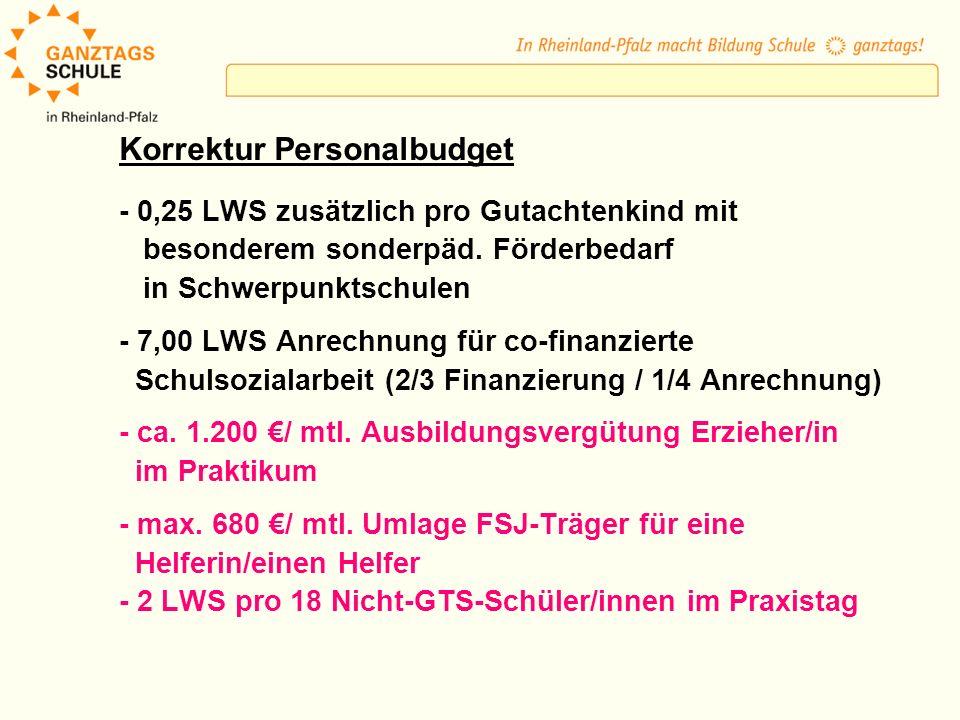 Korrektur Personalbudget