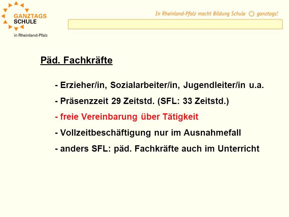 Päd. Fachkräfte - Erzieher/in, Sozialarbeiter/in, Jugendleiter/in u.a.