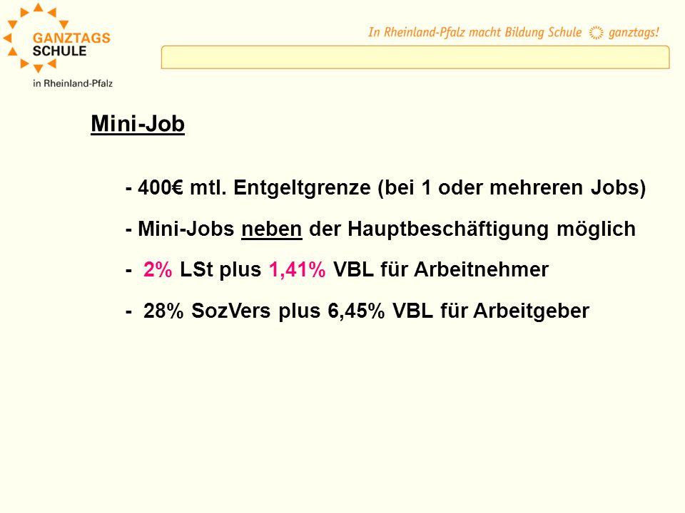 Mini-Job - 400€ mtl. Entgeltgrenze (bei 1 oder mehreren Jobs)