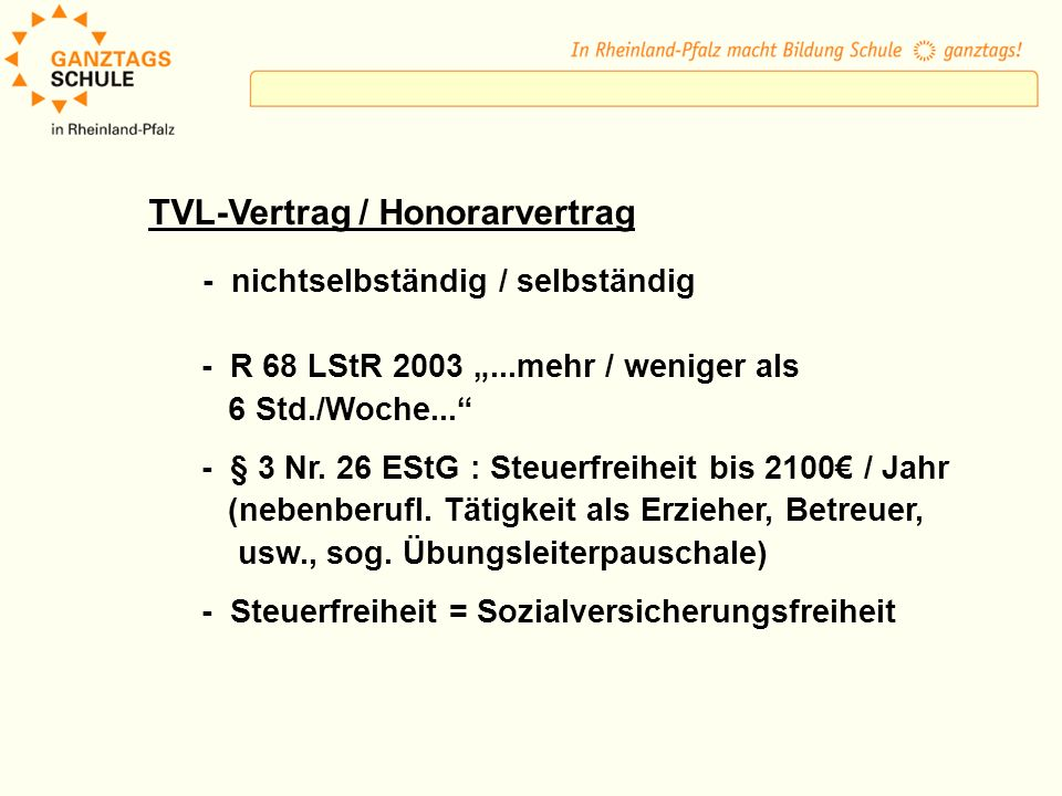 TVL-Vertrag / Honorarvertrag
