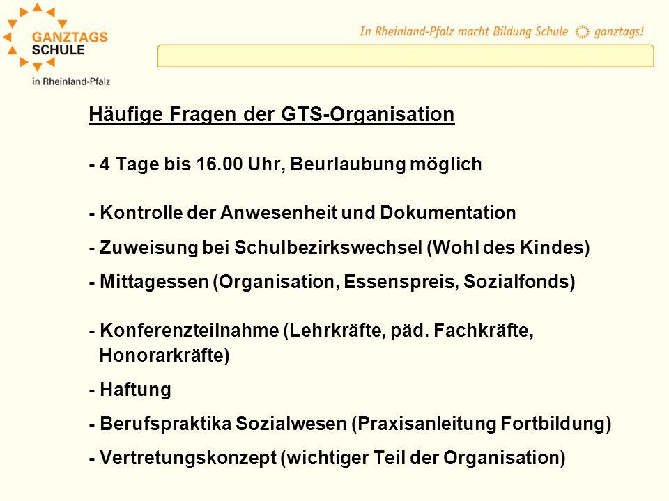 Häufige Fragen der GTS-Organisation