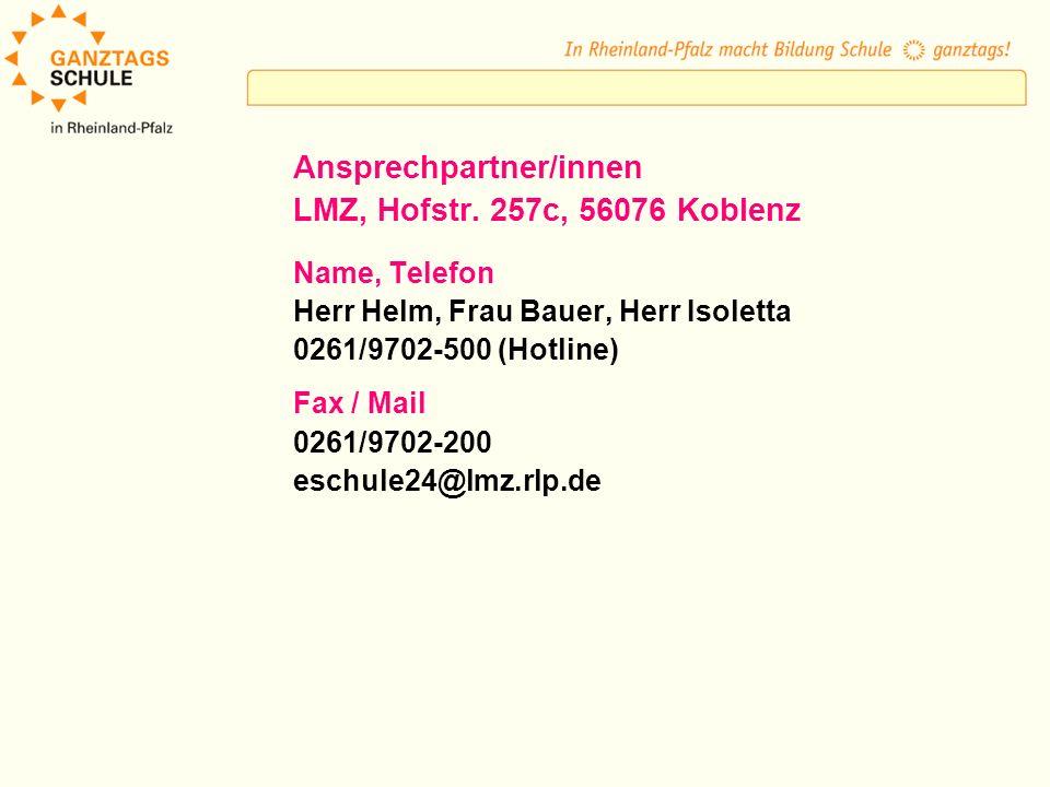 Ansprechpartner/innen LMZ, Hofstr. 257c, 56076 Koblenz