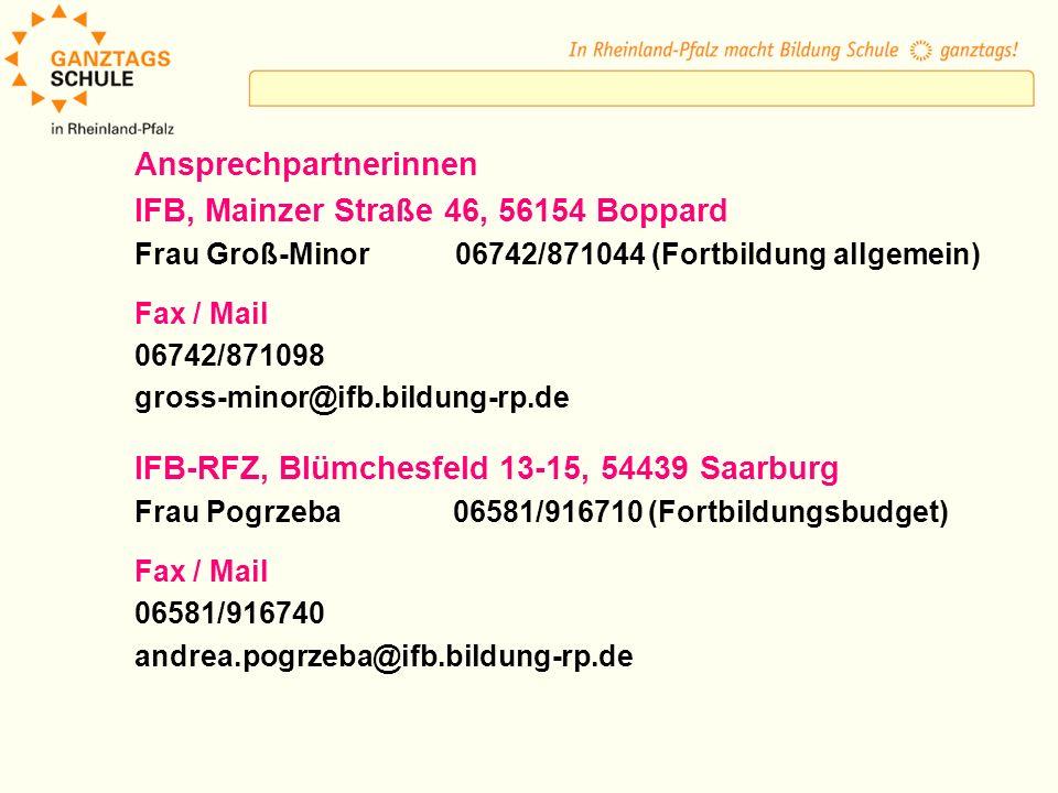 Ansprechpartnerinnen IFB, Mainzer Straße 46, 56154 Boppard