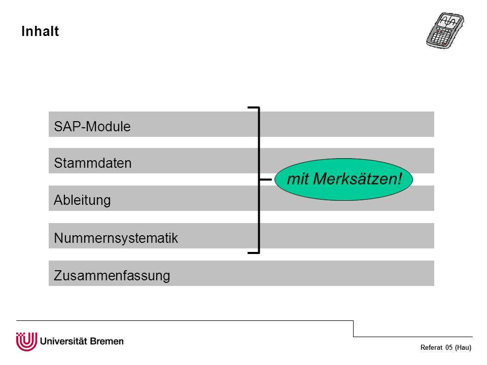 mit Merksätzen! Inhalt SAP-Module Stammdaten Ableitung