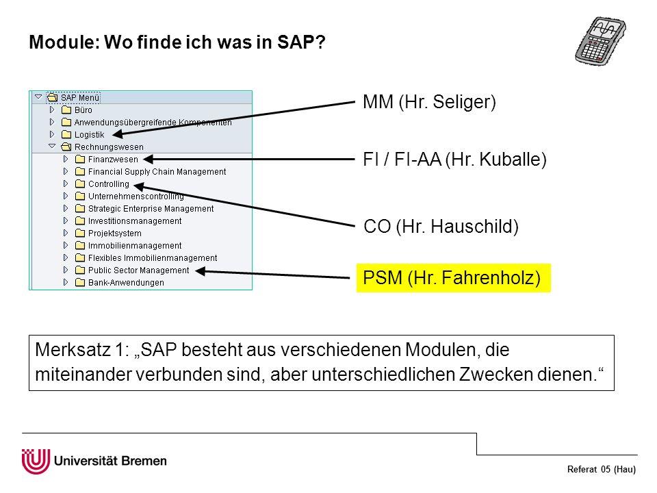 Module: Wo finde ich was in SAP
