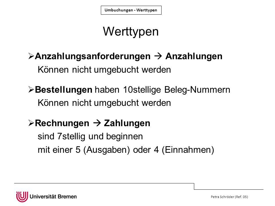 Umbuchungen - Werttypen