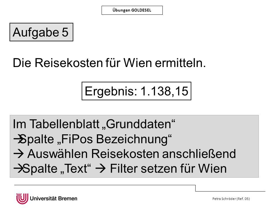 Die Reisekosten für Wien ermitteln.