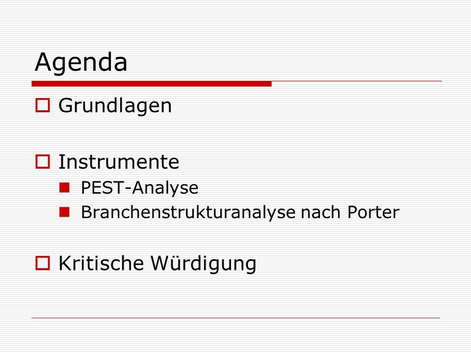 Agenda Grundlagen Instrumente Kritische Würdigung PEST-Analyse