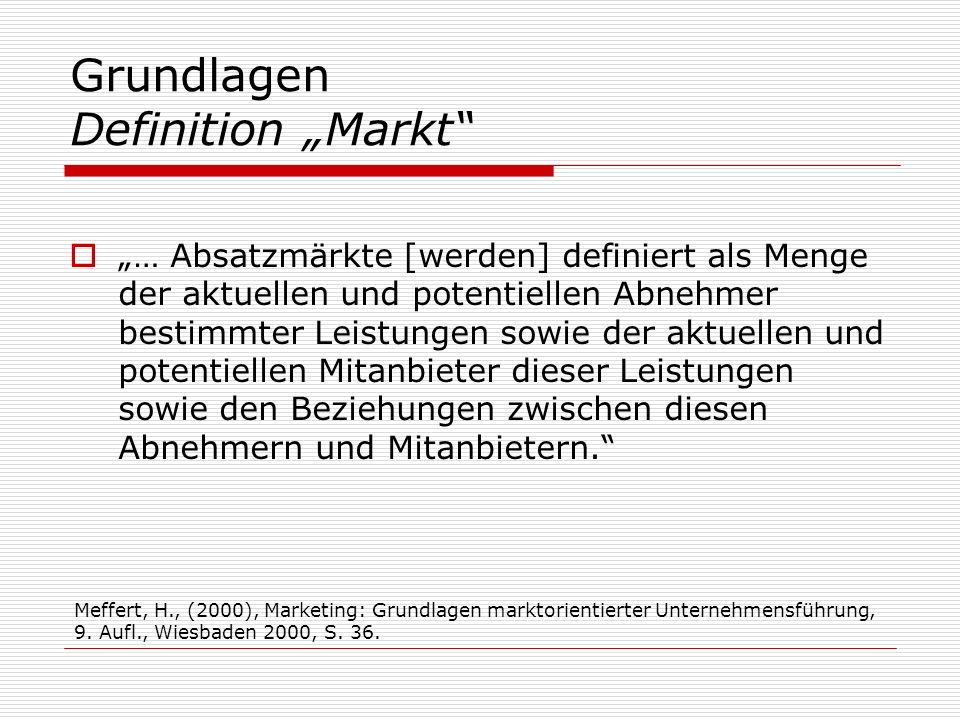 """Grundlagen Definition """"Markt"""