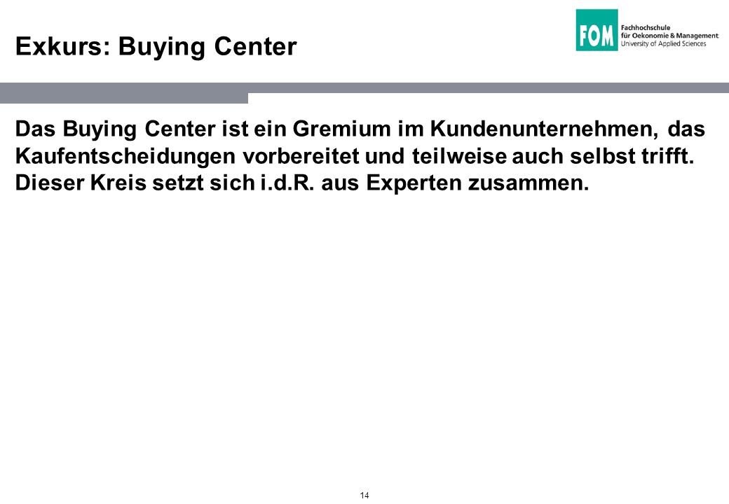 Exkurs: Buying Center