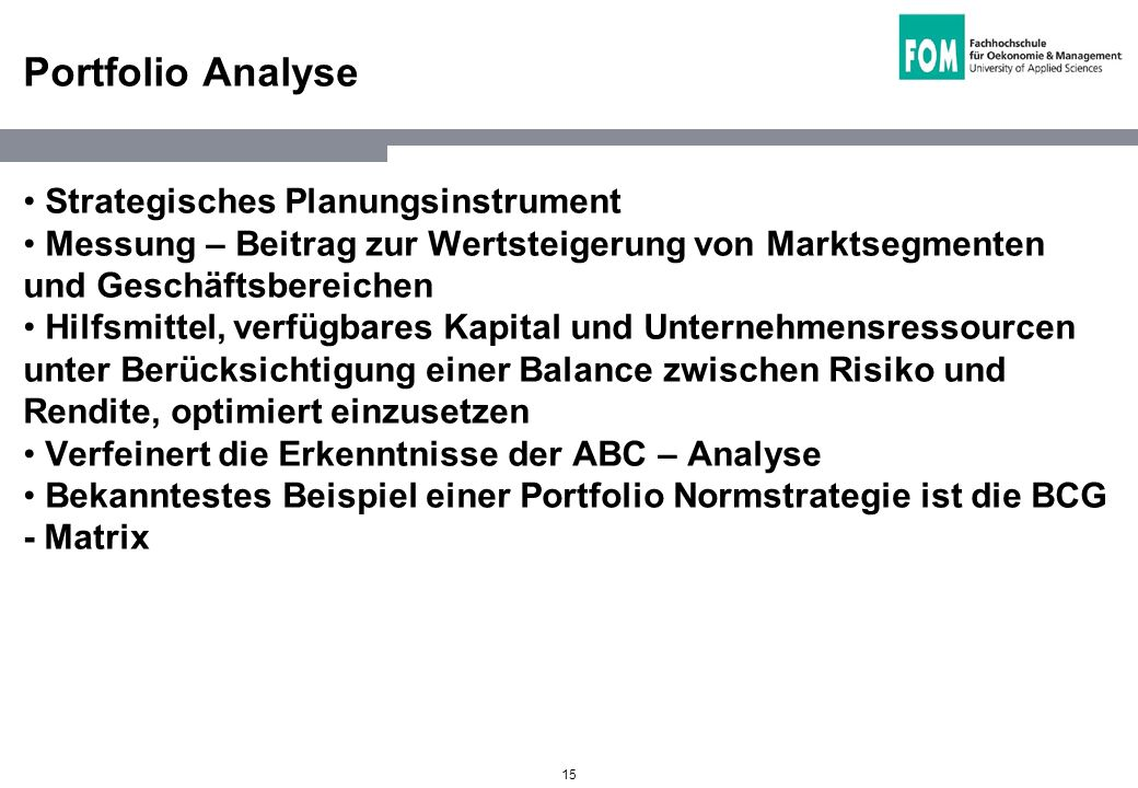 Portfolio Analyse Strategisches Planungsinstrument