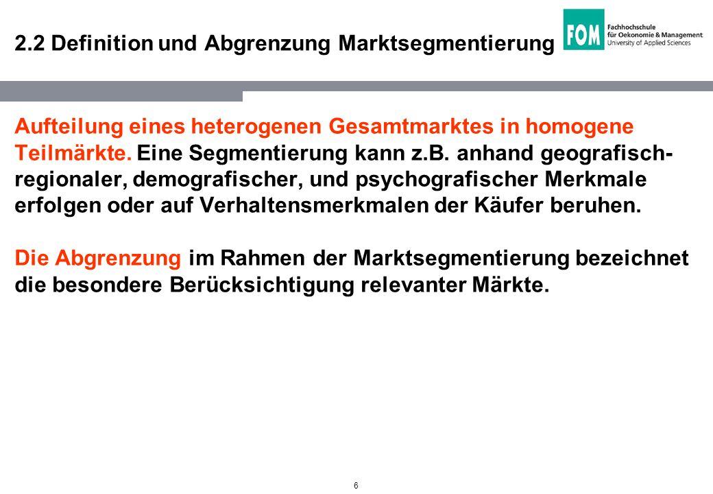 2.2 Definition und Abgrenzung Marktsegmentierung