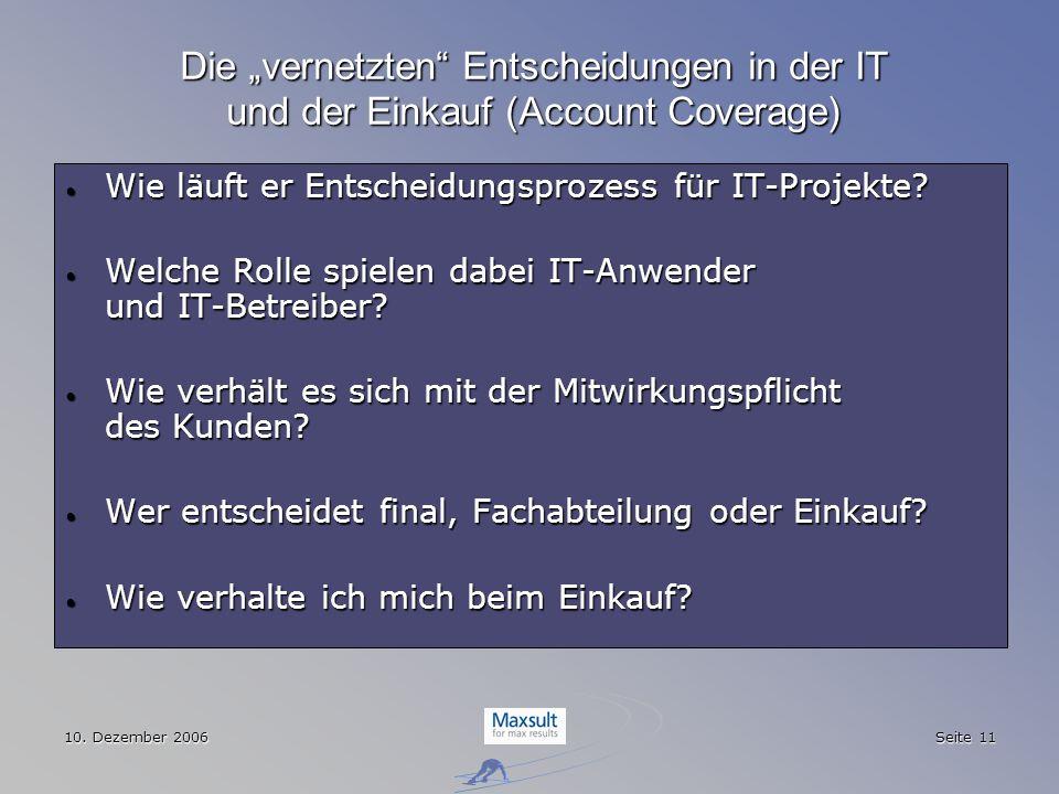 """Die """"vernetzten Entscheidungen in der IT und der Einkauf (Account Coverage)"""