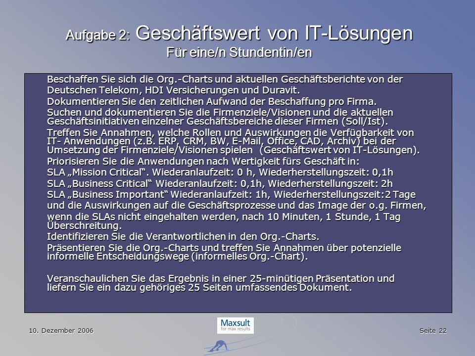 Aufgabe 2: Geschäftswert von IT-Lösungen Für eine/n Stundentin/en