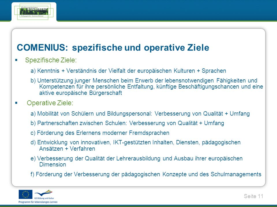 COMENIUS: spezifische und operative Ziele