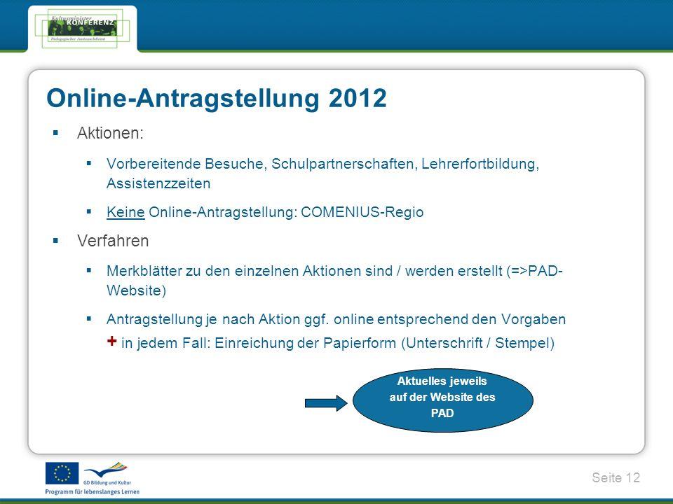 Online-Antragstellung 2012