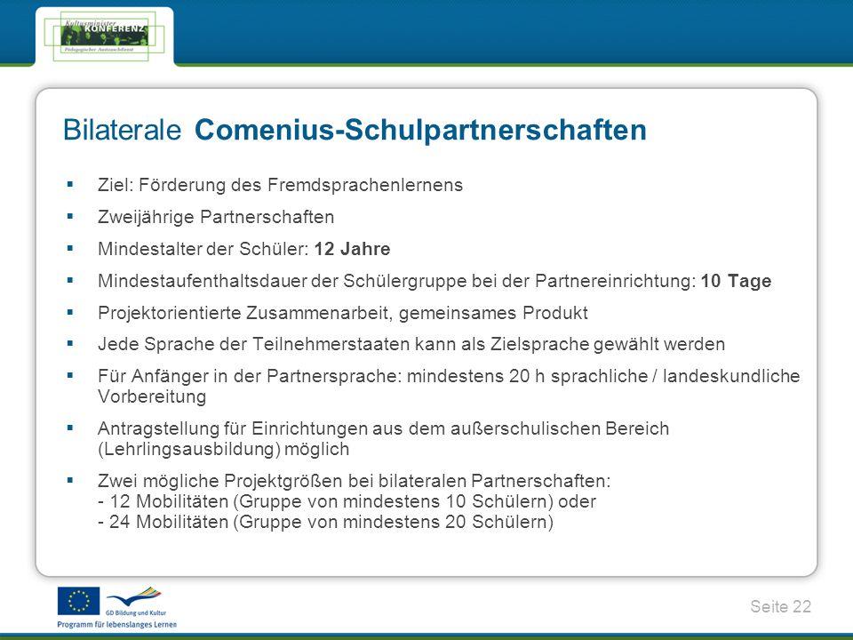 Bilaterale Comenius-Schulpartnerschaften