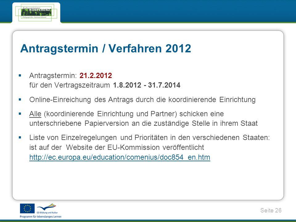 Antragstermin / Verfahren 2012